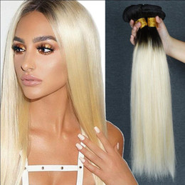 $enCountryForm.capitalKeyWord Australia - MEYA Ombre Brazilian Hair Extension Silky Straight T 1b 613 Dark Root Platinum Blonde Extensions Colored Human Hair Weave Bundles