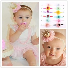 $enCountryForm.capitalKeyWord NZ - 12 Colors Baby Headbands Flower Pearl Crown Headbands For Girls Infant Cute Kids Chiffon Headwrap Children Party Hair Accessories KHA432