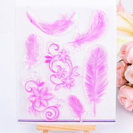 2017 rubber stamping Wholesale- DECORA 1PCS Feather Design Transparent Clear Stamp for Scrapbooking Stamping Photo Album Paper Crafts Christmas Decoration DIY T cheap rubber stamping