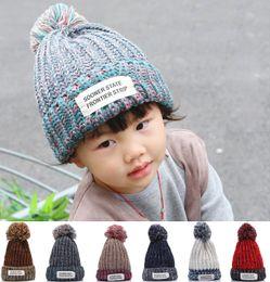 0ffe6505748 2017 Autumn Winter Hat Children Kids Cotton Beanies Cap Pom Pom Ball  Knitted Wool Warm Girls Boys Hats Bonnet gorros