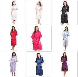 Venta al por mayor de 9 colores de las mujeres de moda sólido de seda kimono bata para damas de honor del banquete de boda vestido de noche pijamas M011