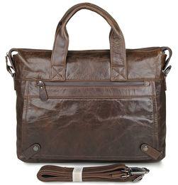 Discount real laptops - Wholesale- JMD Real Leather Vintage Style Men's Briefcase Messenger Bags Handbag Laptop Bag 7120Q