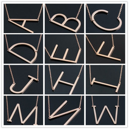 Pendant Letters Gold 18k Australia - Hot Sale Women's Fashion stainless steel 26 Letter A-Z Gold Silver Rose Necklaces Pendants Jewelry Best Gift You can Free Choose Style