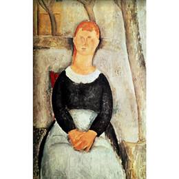 Discount beautiful oil painting for bedroom - abstract Portrait paintings by Amedeo Modigliani The Beautiful Grocer girls art for bedroom decor high quality