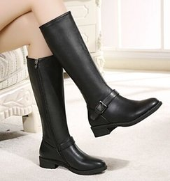 $enCountryForm.capitalKeyWord Canada - Black New Arrival Hot Sale Specials Super Fashion Influx Cheap Knight Inner Round Toe Leather Belt Buckle Cotton Noble Heels Boots EU34-40