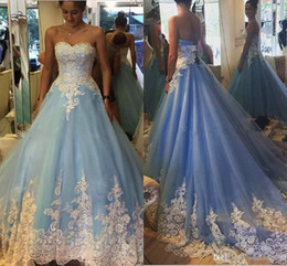Discount modern indian wedding dresses - Robe De Mariage Blue Ball Gown Wedding Dresses With White Lace Applique Vintage Indian Dubai Bridal Gown Plus Size Fall