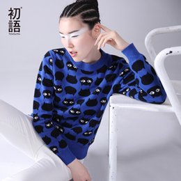 Tricot Des Nuances Pas Cher-Grossiste-Toyouth Sweater Femmes 2016 O-cou Cartoon Cat Modèle Long SLeeve Femelle Knitted Loose Casual Pullovers