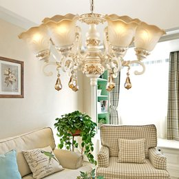 ClassiCal european art online shopping - Crystal resin chandeliers luxury noble European American pendant chandelier lighting fixture restaurant bedroom living room pendant lamp