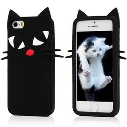 3d Cute Cat Case Canada - New arrival Phone cases For iPhone 7 Cute Cartoon 3D black cat Cases Soft Silicone Back Cover Shell for iPhone 5S 5E 6S 7 plus free shipping