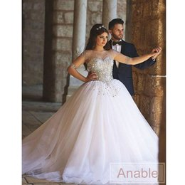 2016 Arabic Long Sleeves Crystals Ball Gown Wedding Dresses Illusion Top  Beading Pearls Plus Size Arabic Maternity Bridal GownsTop Maternity Wedding Dresses Suppliers   Best Top Maternity  . Plus Size Maternity Wedding Dresses. Home Design Ideas