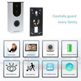 Discount wholesale wireless doorbells - WiFi Smart Video Doorphone HD 720P night vision Wireless Video Doorbell Intercom System Waterproof home security Alarm w