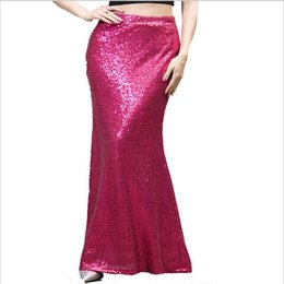 Barato Saias Longas E Finas-Gold Sequin Women Maxi Skirt Feminino Vestidos Elegante Boho Chic Sexy Mermaid Shiny Slim Thin Party Long Skirt S00266 Plus Size