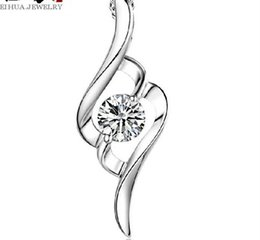 Chinese  925 Sterling Silver Pendant Necklace Austrian Crystal Love Heart Luxury Pendant Water Necklace Silver Cheap Wedding Jewelry for Women manufacturers