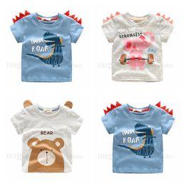 Discount kids elephant top - Baby Boy Shirts Toddler Cartoon Printed Shirts Kids Bear Elephant Dinosour CottonT Shirts Children Summer Short Sleeve T