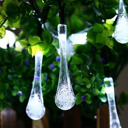Solar String Lights 20ft Outdoor String Lights 30 Waterproof LED Water Drop  Fairy String Lighting 8