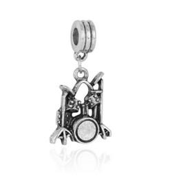 Necklace drum online shopping - Fits Pandora Bracelets Drum kit Dangle Silver Charm Beads Charms For Diy European Necklace Snake Chain Bracelet