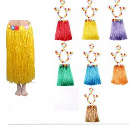 Barato Vestido Saia Flores-80cm Hawaiian Hula Grass Skirt Flower Dress Beach Dance Vende vestido de dança do ventre Party Costumes Flower Hula Grass Skirt KKA2208