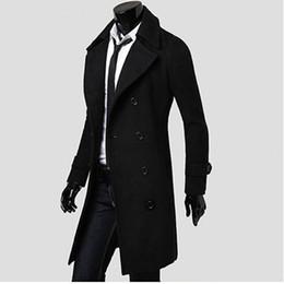 Großhandels- Mens Trenchcoat 2017 New Fashion Designer Männer langen Mantel Herbst Winter Zweireiher winddicht schlanke Trenchcoat Männer NQ815086