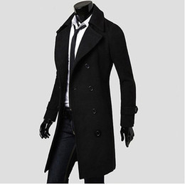 Chinese  Wholesale- Mens Trench Coat 2017 New Fashion Designer Men Long Coat Autumn Winter Double-breasted Windproof Slim Trench Coat Men NQ815086 manufacturers