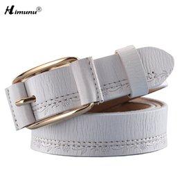 Leather Belt Decorations Canada - Wholesale- Himunu Novelty Jeans 100% Genuine Leather Belt for Women Pin Buckle Cowskin Leather Female Belts Women Thread Decoration