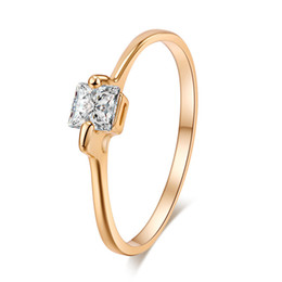 Discount yellow gold engagement ring designs - Simple Design Girls Ring 18K Yellow Gold Plated AAA Clear Sparky Square Crystal Ring for Women Engagement Ring