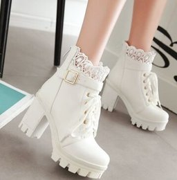 Knights Boots NZ - Wholesale New Arrival Hot Sale Specials Super Influx Warm Knight Noble Lace Up Buckle Platform Roman Elegant Heels Ankle Boots EU34-43