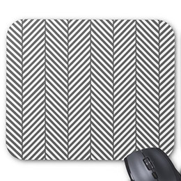 office mouse pads UK - Gray and White Geometric Stripes Pattern Rectangle Computer Mousepad Mat Gaming Office Mouse Pad