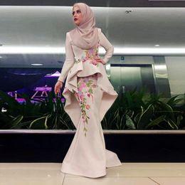 long evening peplum dresses back drape 2018 - Muslim Long Sleeves Evening Dresses Jewel Peplum Embroidery Mermaid Prom Dress Long Satin Zipper Back Women Formal Wear