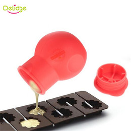 melting chocolate NZ - Delidge 20 pc Chocolate Pouring Pot Red Color Silicone Chocolate Melting Pot Butter Sauce Milk Baking Pouring For Baking Tools