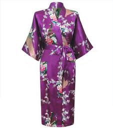 75b64c832c Wholesale- Purple Female Faux Silk Robe China Style Sleepwear Kimono New  Summer Bath Gown Plus Size S M L XL XXL XXXL Mujer Pijama LS0001C