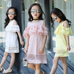 Lace For Cotton NZ - Kids Baby Summer Clothes Girls Flower Lace Dress Cotton Cold Off Shoulder Ruffles Dress For Girls Princess Party Dresses Clothing White Pink