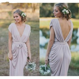 Silver grey wedding gownS online shopping - French Country Grey Boho Bridesmaid Dresses Modest Chiffon V neck Low Back Wedding Guest Party Gowns Floor Length