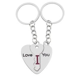 $enCountryForm.capitalKeyWord Canada - 3 piece Broken Heart Puzzle Key Shape Keychain Stitch Couple I Love You Key Chain Ring For Lovers Charm Wedding Birthday Party Jewelry