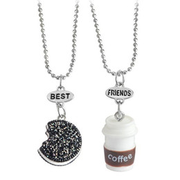 China 2pcs set Cookie Coffee Best Friends Pendant Bead Chain Necklace Best Friend BFF Mini Miniature Food Jewelry 161819 cheap best foods gifts suppliers
