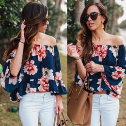 Barato Tops Ocidentais Para Mulheres-New Arrival Western Style One Piece Shipping Spring / Summer Slash Neck Off Shoulderr Horn Sleeve Flores Printed Chiffon Tops Tees