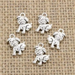 Dog Plates Australia - Wholesale 90pcs Charms Tibetan Silver Plated double sided lovely dog 17*12mm Pendant for Jewelry DIY Hand Made Fitting