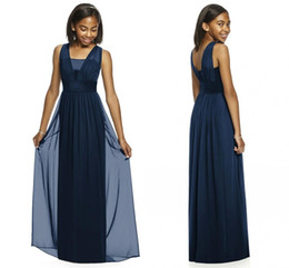 Cheap White Belts Canada - 2019 Navy Junior Bridesmaid Dresses Sleeveless A Line Floor Length Long Chiffon With Belt Cheap Bridesmaid Dresses