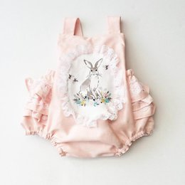 Dentelle De Garçon Pas Cher-2017 Summer New Baby Girl Princess Bodysuits Dentelle Rabbit sans manches Tiered Back Pink Overalls Toddler Clothing 0-2Y D0098