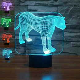 study table for kids room UK - Animal Leopard 3D Night Light 7 Color Change LED Table Lamp Xmas Toy Gift for kids