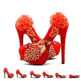d4ffc1ff Estilo chino 100% zapatos de boda hechos a mano de mujer zapatos de tacón  alto de novia de encaje rojo phoenix bombas zapatos de fiesta