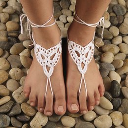 Wholesale Crochet white barefoot sandals Nude shoes Foot jewelry Beach wear Yoga shoes Bridal anklet bridal beach accessories white lace sandels CJ044