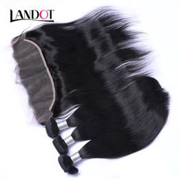 Venta al por mayor de Cierre frontal de encaje de oreja a oreja con 3 paquetes de cabello brasileño de la Virgen teje ciervos de cabello humano camboyano malasio peruano directo