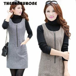 60db97fc21 THENANBURONE 2017 Winter Dress Women Sleeveless Pullover Woolen Vest Casual  Dresses Houndstooth One-Piece Dress Front Zippers