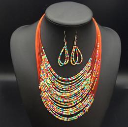 M Earrings NZ - Bohemia Weave Multilayer M Bead Necklace + Earrings Jewelry Set