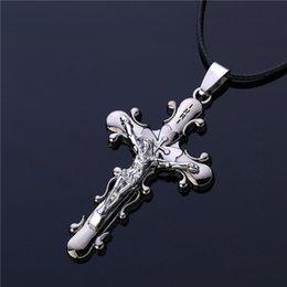 $enCountryForm.capitalKeyWord Canada - 2016 New Trendy Men Jewelry Gunblack Plated Initial Letters Carved Imitation Titanium Steel Gothic Jesus Cross Pendant Necklace