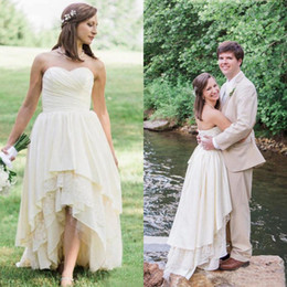 High Low Western Wedding Dresses Canada - 2017 Cheap Western Country High Low Wedding Dresses Sweetheart Ruched Lace And Chiffon Corset Bridal Gowns Custom Made EN4074