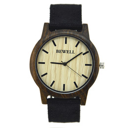 $enCountryForm.capitalKeyWord UK - 2018 BEWELL Men Quartz Wristwatch Wooden Dial and canvas belt Casual Watches for Men on Sale ZS-134A