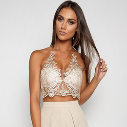 Barato Sutiã Escarpada-Mulheres Floral Lace Crop Top Halter Triangle Bra Tops Zip Sheer Mesh Short Camis Blusa Summer Beach Tank Top Branco Preto Gold KLG0704