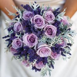 $enCountryForm.capitalKeyWord NZ - Beautiful Wedding Bouquet For Brides Flowers Handmade Bridal Bouquet Purple Rose Artificial Ramo De Flores Novia Trouw Boeket