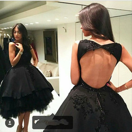 $enCountryForm.capitalKeyWord Canada - Backless Beaded Arabic 2017 Evening Dresses Black Ball Gown Satin Prom Dresses Knee Length Formal Party Gowns